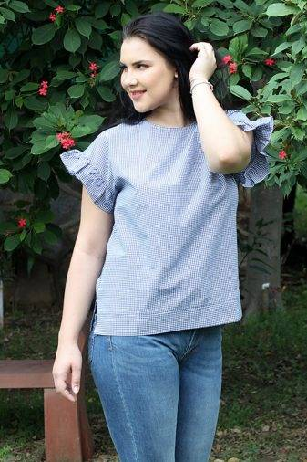 plus_size_ruffle_sleeve_blue_gingham_top_lastinch_western_clothing_brand