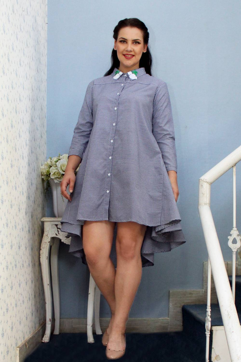 plus_size_gingham_patched_checks_shirt_dress_lastinch_western_clothing_brand