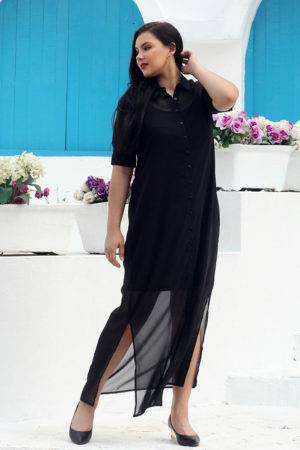 plus size Black Shirt Gown