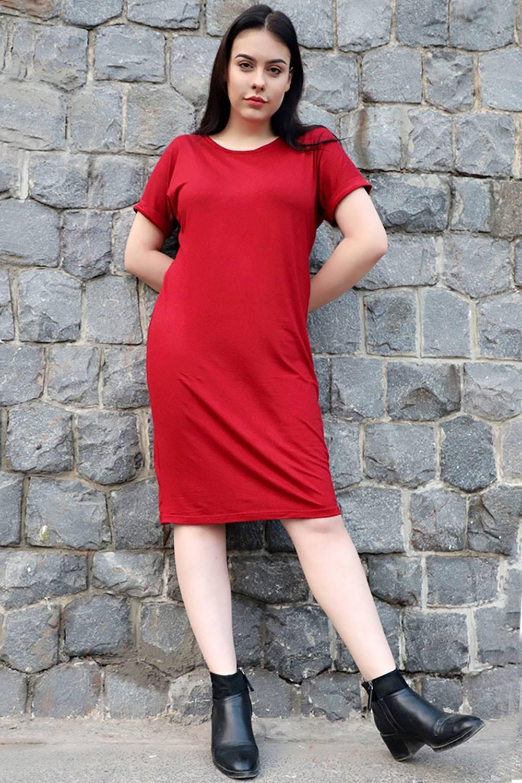 plusizemaroonshift dress
