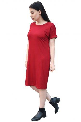 maroon shift dress