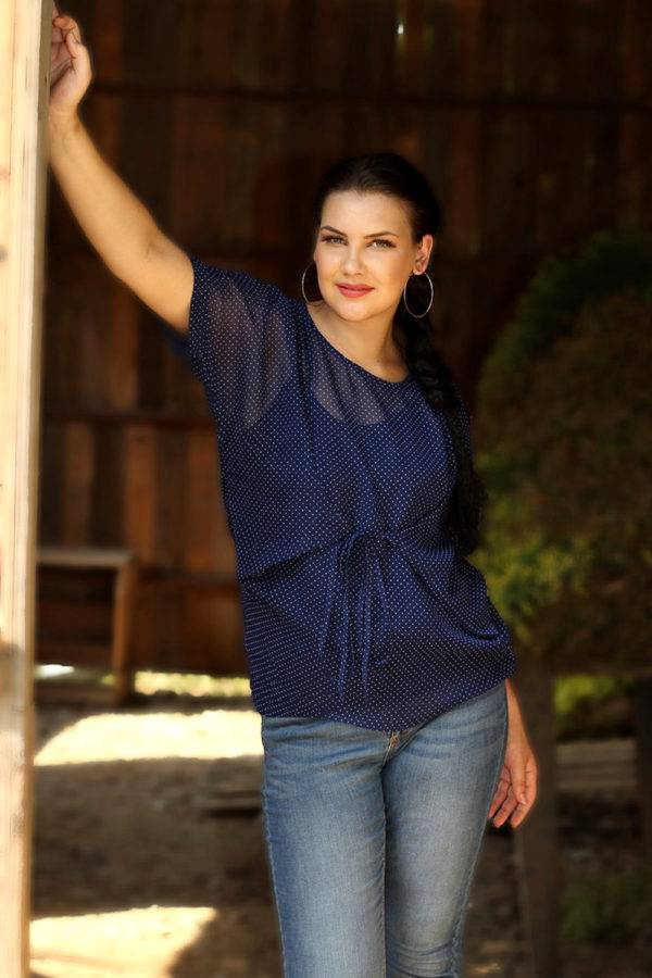 plus_size_blue_polka_dot_front_tie_top_lastinch_western_clothing_brand
