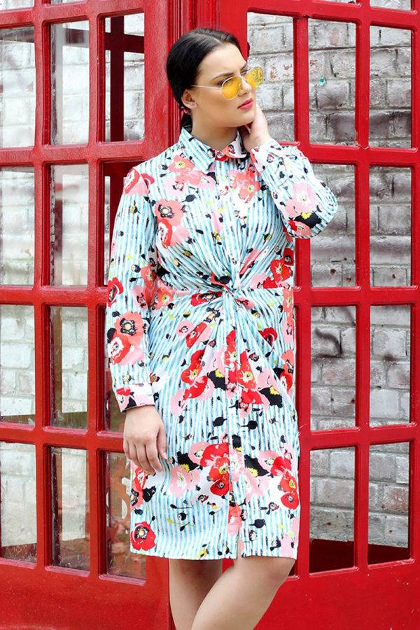 plus_size_twisted_floral_stripe_shirt_dress_lastinch_western_clothing_brand