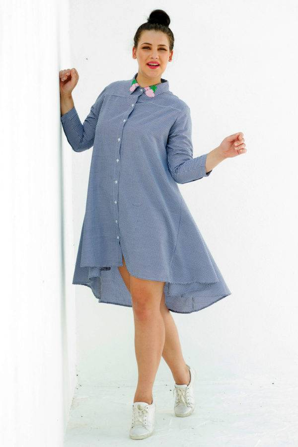 plus_size_gingham_high_low_shirt_dress_lastinch_western_clothing_brand