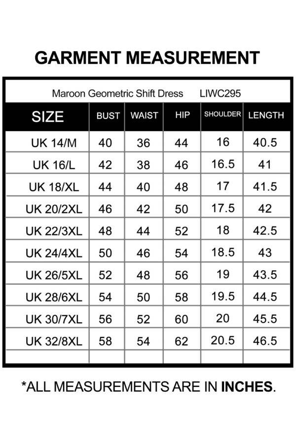 Maroon Geometric Shift Dress_LIWC295