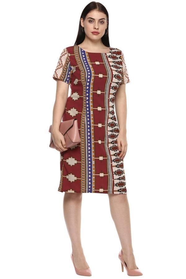 plus_size_geometric_maroon_shift_dress_lastinch_western_clothing_brand_6
