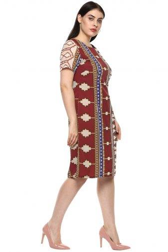 plus_size_geometric_maroon_shift_dress_lastinch_western_clothing_brand_3