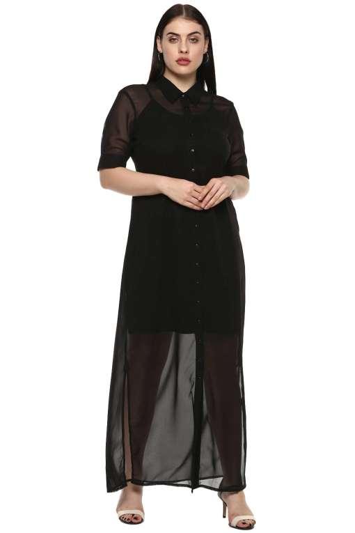 plus size Black Shirt Gown