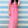 plus size pink beach gown