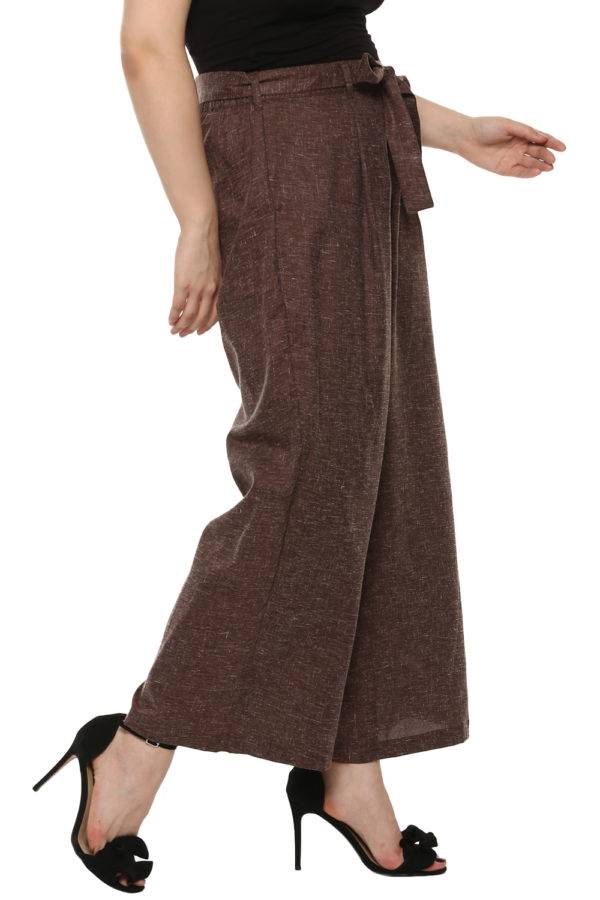 Plus Size LASTINCH Brown Linen Palazzo