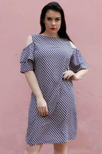plus size Blue cold shoulder dress