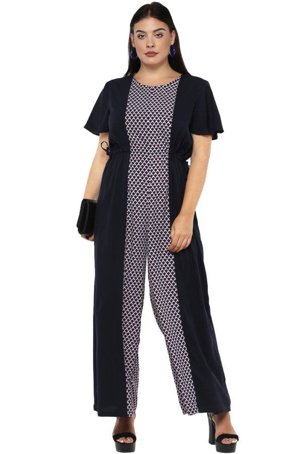 plus size Blue Printed Jumpsuit-2