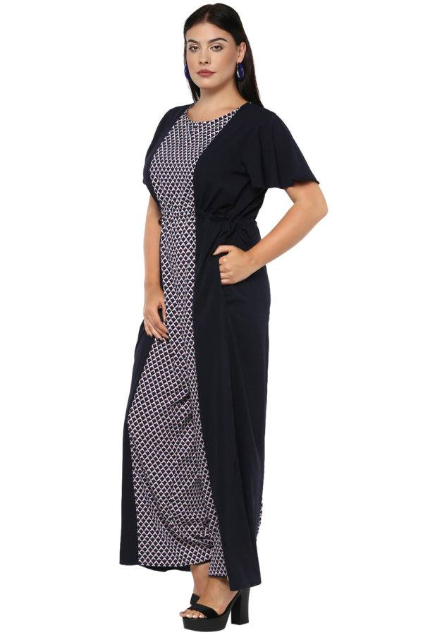 plus size Blue Printed Jumpsuit-4