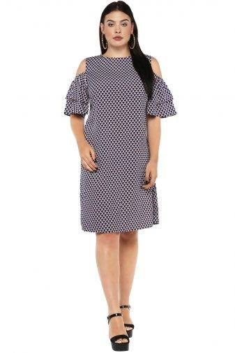 Plus Size Cold Shoulder Aline Dress-1