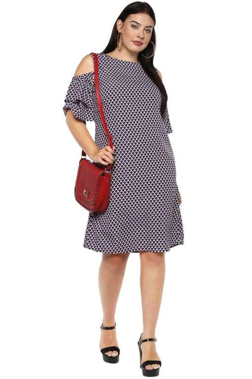 Plus Size Cold Shoulder Aline Dress-2