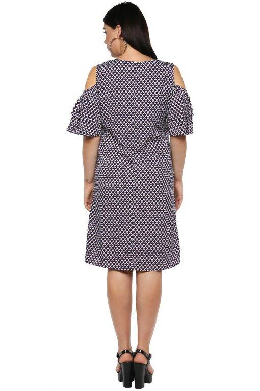 Plus Size Cold Shoulder Aline Dress-3