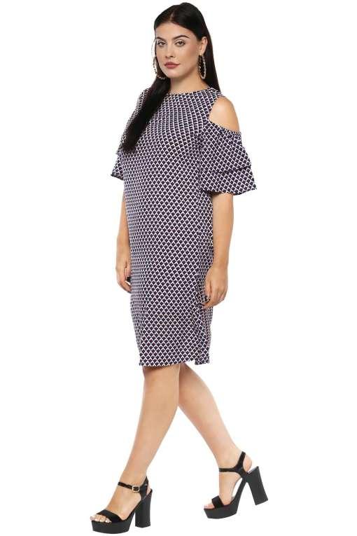 Plus Size Cold Shoulder Aline Dress--4