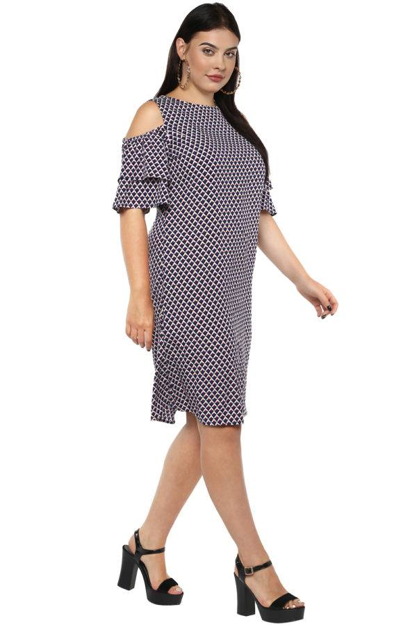 Plus Size Cold Shoulder Aline Dress-5