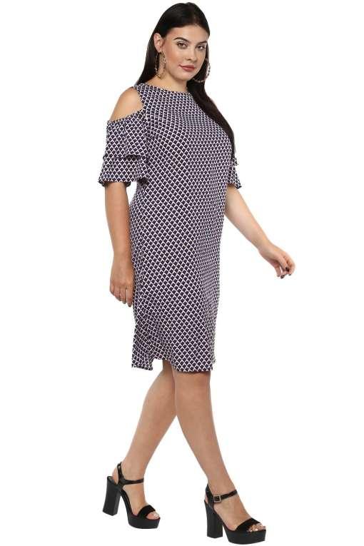 Cold Shoulder Aline Dress-5