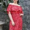 Plus Size Off-Shoulder Red Dress