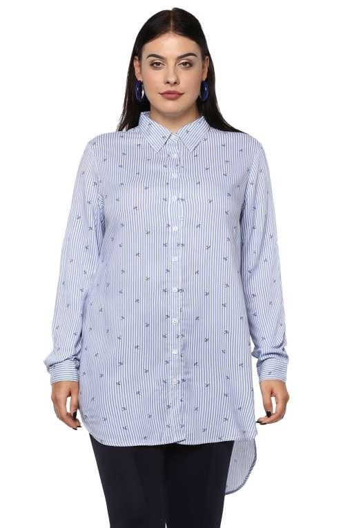Plus Size Stripes Long Shirt-1