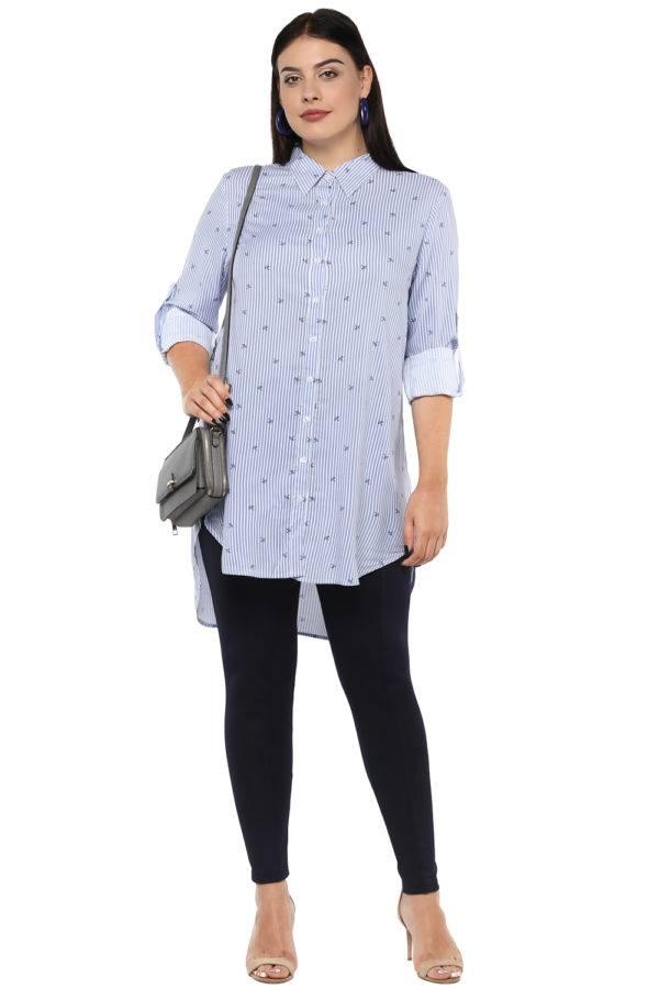 Plus Size Stripes Long Shirt-2