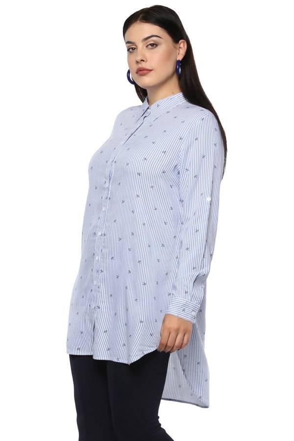 Plus Size Stripes Long Shirt-3