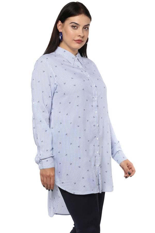 Plus Size Stripes Long Shirt-4