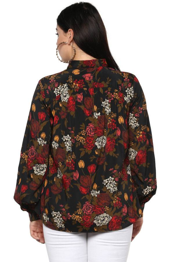 Plus Size Floral Bubble Sleeve Shirt-1