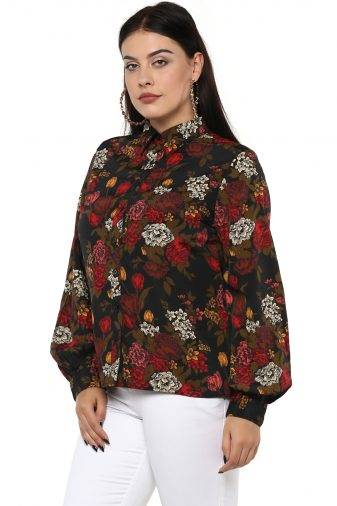 Plus Size Floral Bubble Sleeve Shirt-2