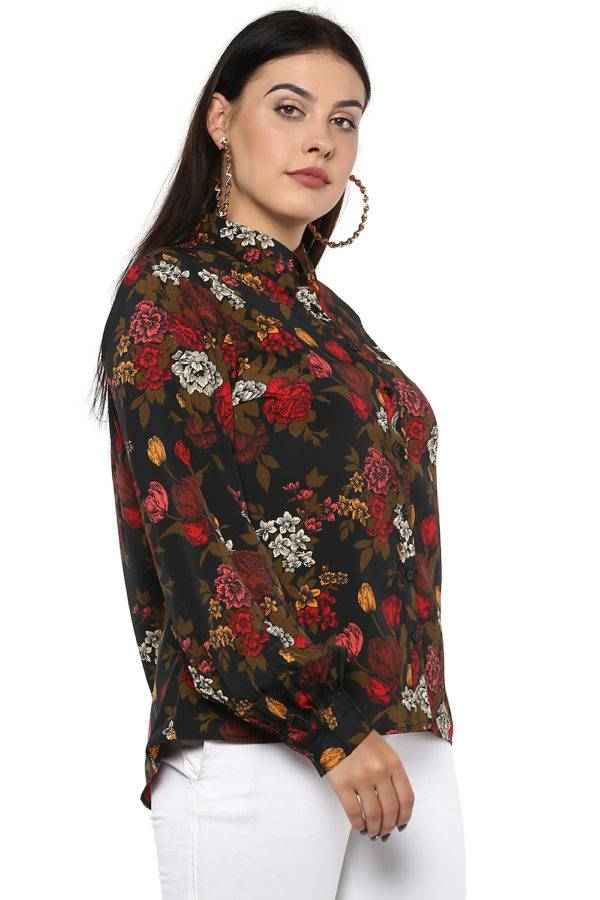 Plus Size Floral Bubble Sleeve Shirt-3