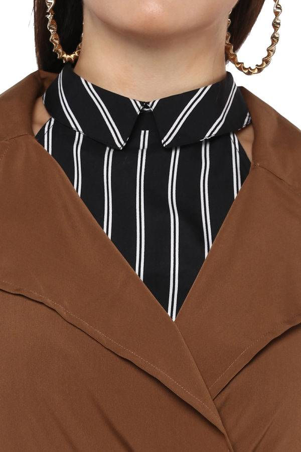 Plus size Brown Trench Coat-6