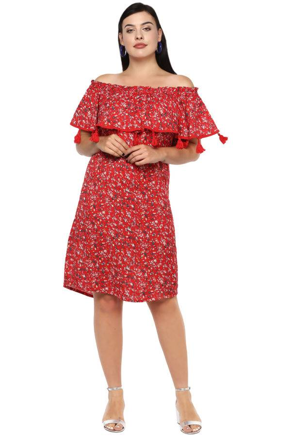 Plus Size Off-Shoulder Red Dress-1
