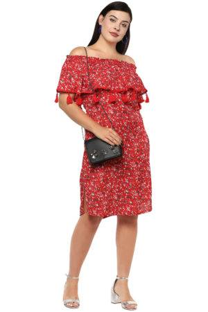 Plus Size Off-Shoulder Red Dress-2