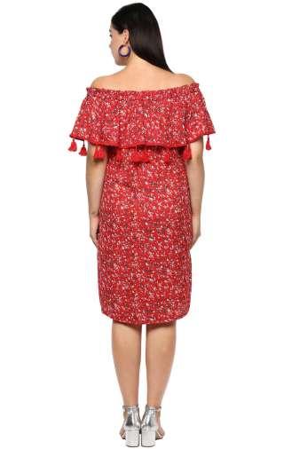 Plus Size Off-Shoulder Red Dress--3