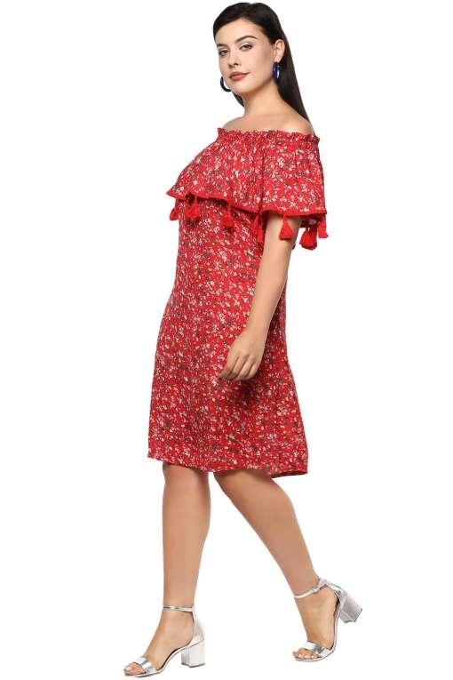 Plus Size Off-Shoulder Red Dress-4