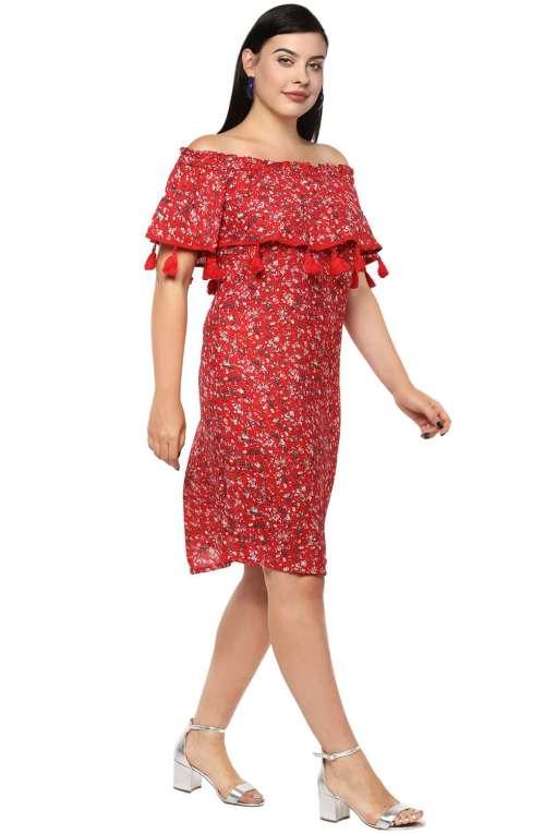 Plus Size Off-Shoulder Red Dress-5
