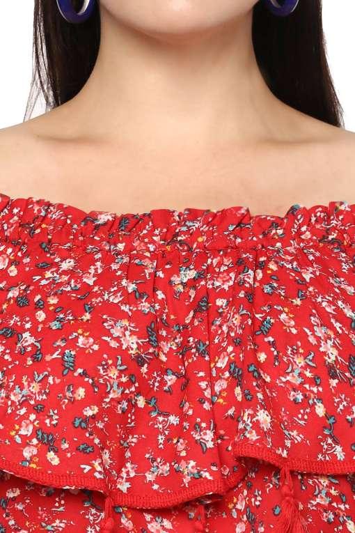 Plus Size Off-Shoulder Red Dress-6