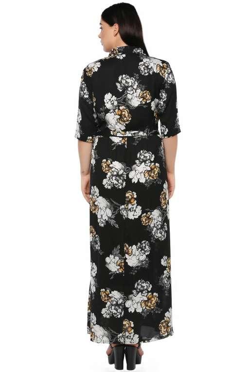 Plus Size Floral Maxi Dress-4