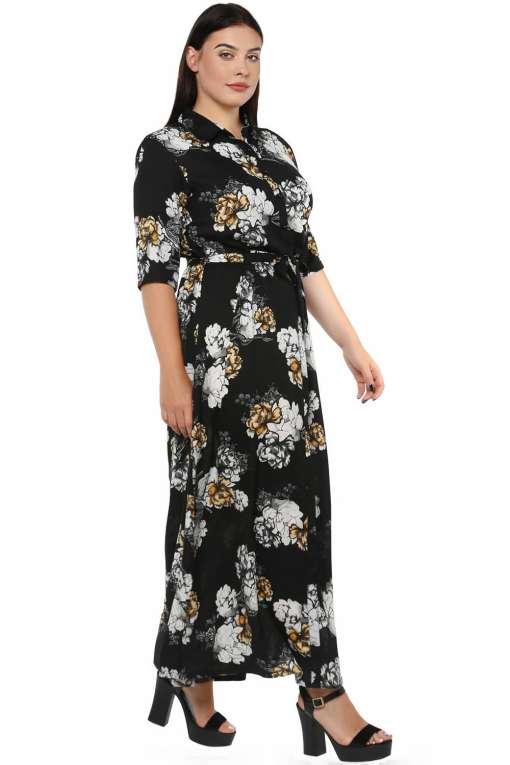 Plus Size Floral Maxi Dress-5