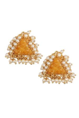Yellow Natural Stones & Pearl Stud