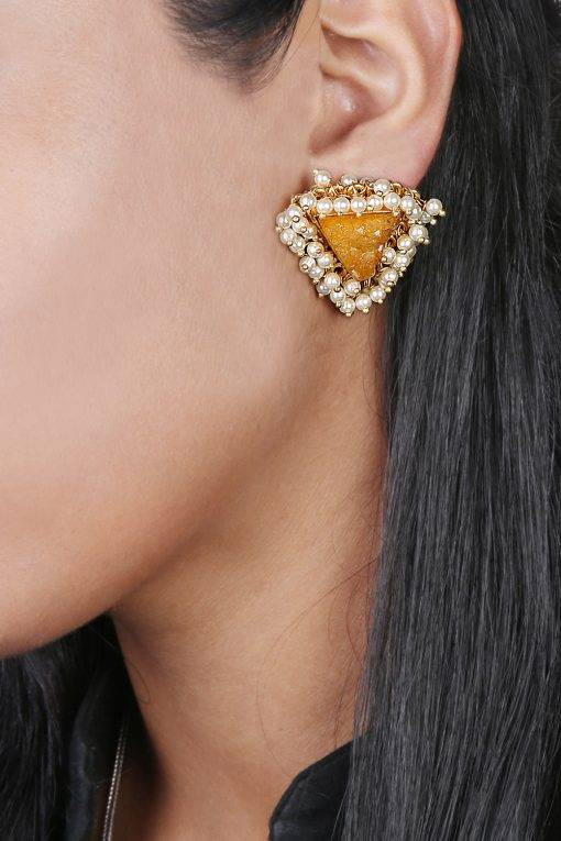 Yellow Natural Stones & Pearl Stud