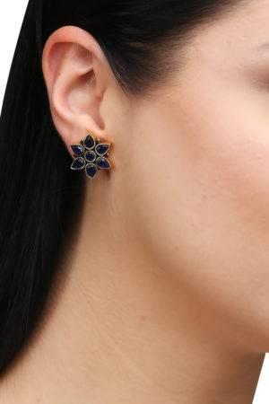 Blue Sapphire Flower Studs