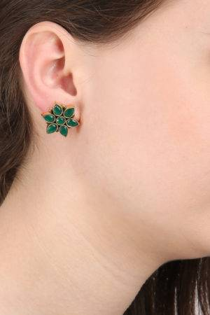 Emerald Green Flower Studs