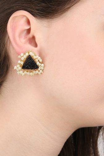 Black Natural Stones & Pearl Stud