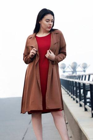 Plus size Brown Trench Coat-1