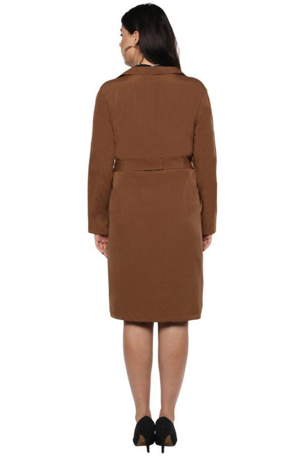 Plus size Brown Trench Coat-3