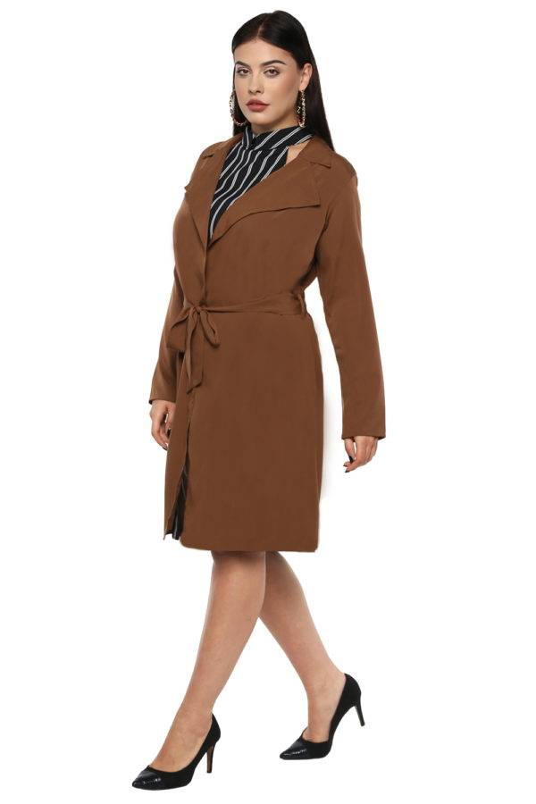 Plus size Brown Trench Coat-4