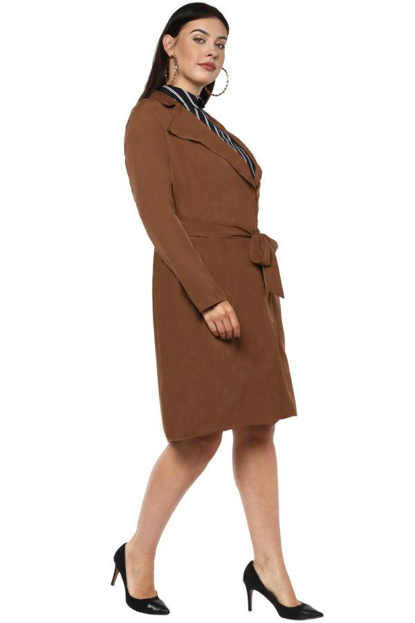 Plus size Brown Trench Coat-5
