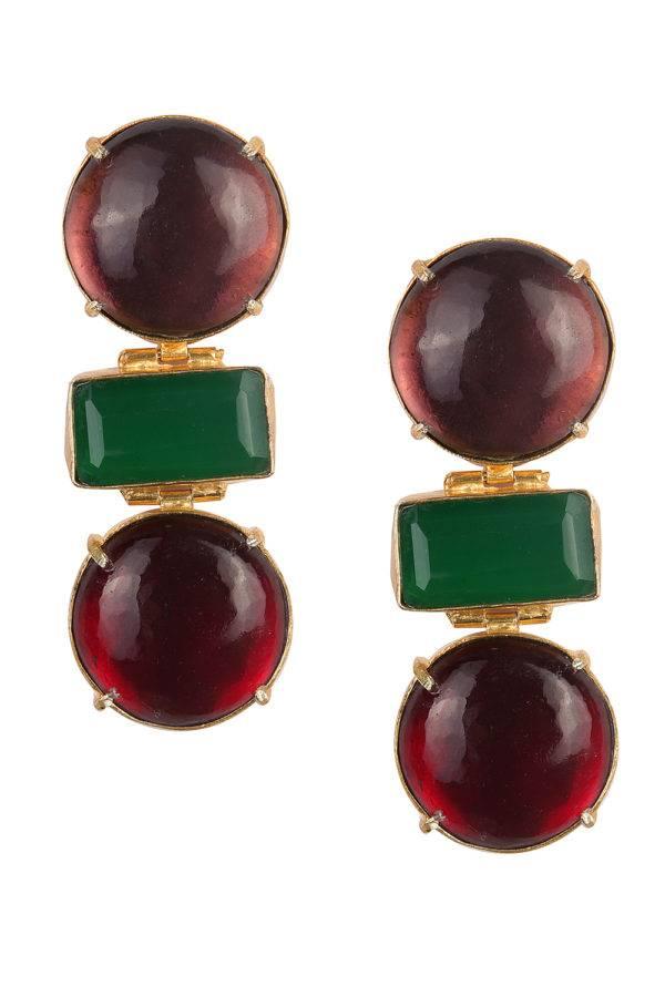 Wine & Green Statement Earrings